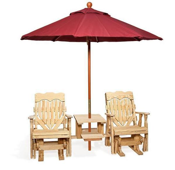 Amish Leisure Lawns Pine High Back Heart Double Glider Tete-A-Tete