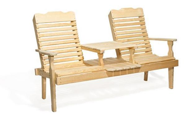 Amish Pine Wood Curve Back Patio Settee