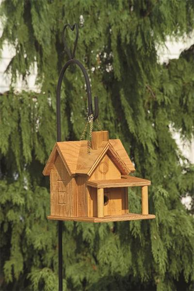Amish Made Bird House with Porch and Chimney