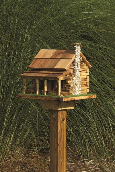 Amish Log Cabin Bird Feeder with Rock Chimney