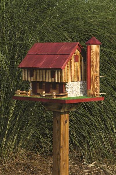 Amish Barn Bird Feeder with Silo