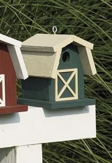 Amish Painted Small Barn Garden Bird House