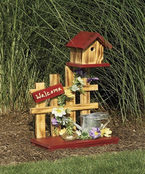 """Amish """"Welcome"""" Picket Fence Bird House"""