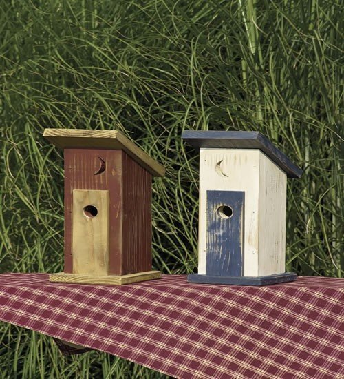 Amish Rustic Painted Outhouse Bird House