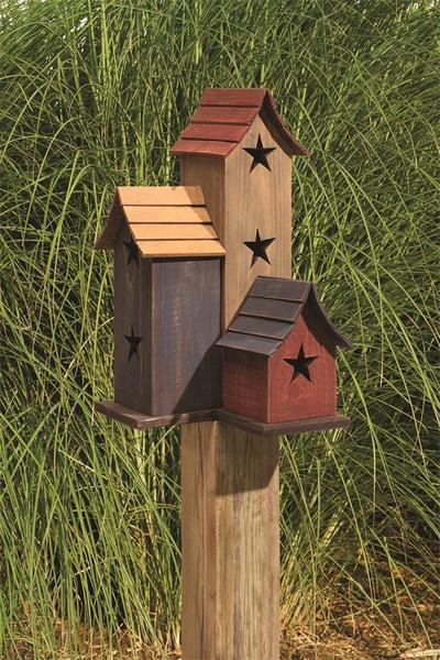 Amish Painted Trio Garden Bird House