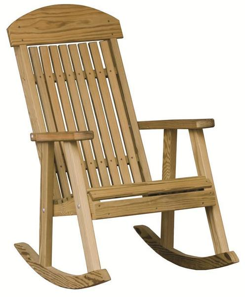 Amish Built LuxCraft Pine Wood Patio Rocking Chair with smooth slat back and arm rests