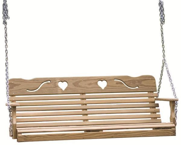 LuxCraft Pine Wood Cutout Heart Swing