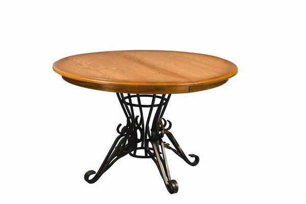 Amish Iron Pedestal Round Dining Room Table