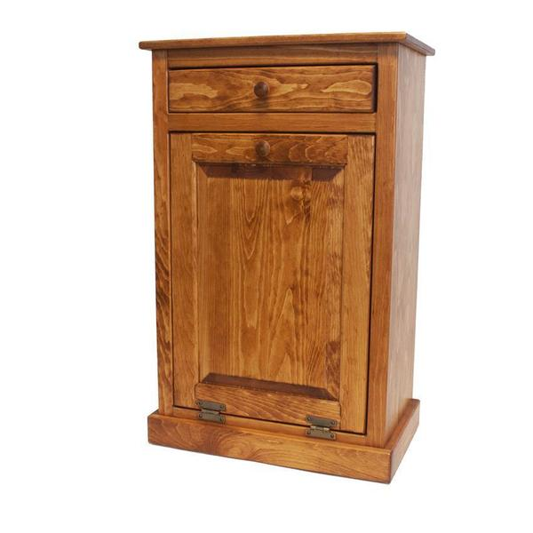 Amish Pine Tilt Out Trash Bin Cabinet With Drawer