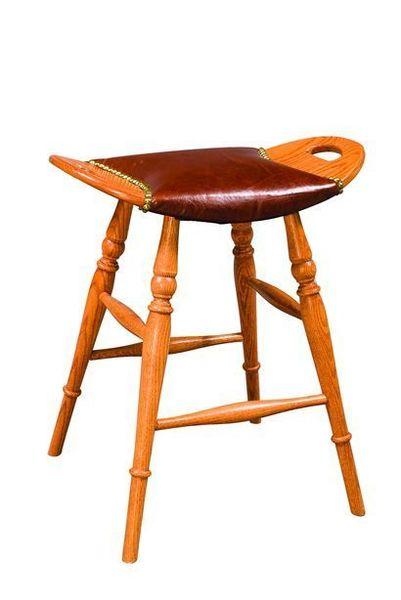 Amish Saddle Barstool with Leather Seat