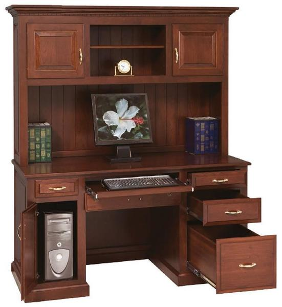Amish Traditional Computer Desk with Optional Hutch Top