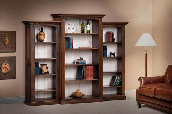 Amish Deluxe Bookcase with Raised Panel Sides 3 Piece Set