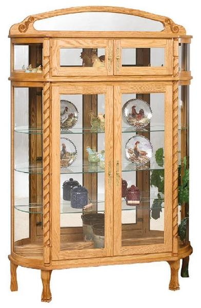 Amish Double Door Bonnet Top Curio Cabinet