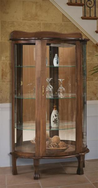 Amish Curio Cabinet with Mirror Back