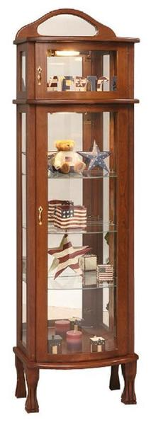 Amish Rectangular Bonnet Top Curio Cabinet