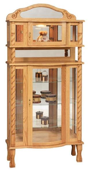 Amish Deluxe Curio Cabinet with Claw Feet