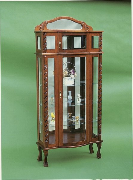 Amish Tri-Front Bonnet Top Curio Cabinet
