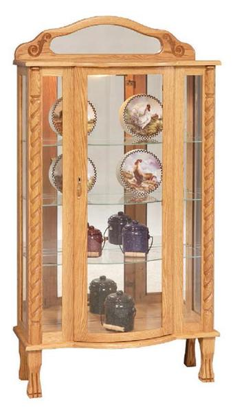 Amish Tri-Front Curio Display Case Cabinet