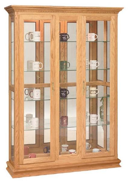 Amish Double Door Picture Frame Deluxe Curio Cabinet