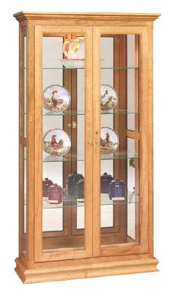 Amish Double Door Picture Frame Curio Cabinet