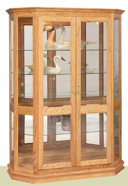 Amish Angled Double Door Picture Frame Curio Cabinet