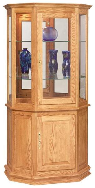 American Made Curio Cabinet with Enclosed Base