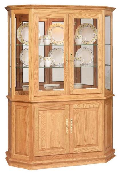 Amish Handcrafted Curio Cabinet with Enclosed Base