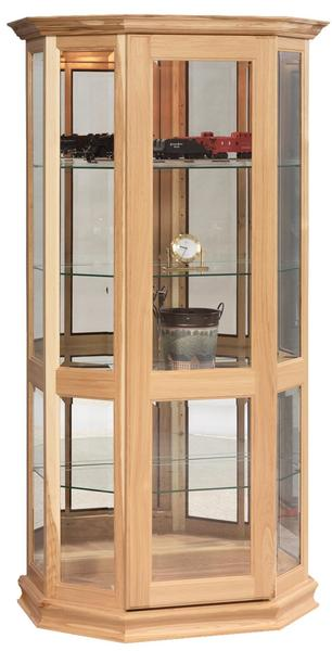 Amish Angled Curio Cabinet with Sliding Door
