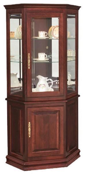 Hardwood Corner Curio Cabinet with Enclosed Base