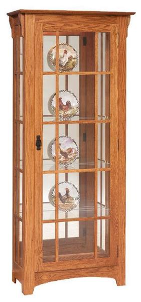 Amish Mission Curio Cabinet with Mullions