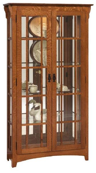 Arts and Crafts Mission Double Door Curio Cabinet