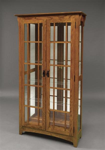 Amish Mission Double Door Curio Cabinet