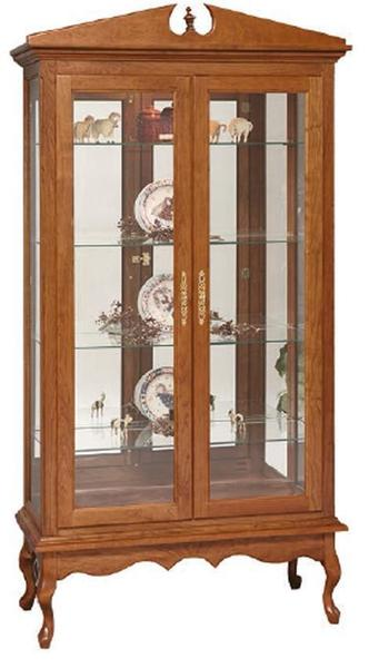 Amish Queen Anne Double Door Curio Cabinet