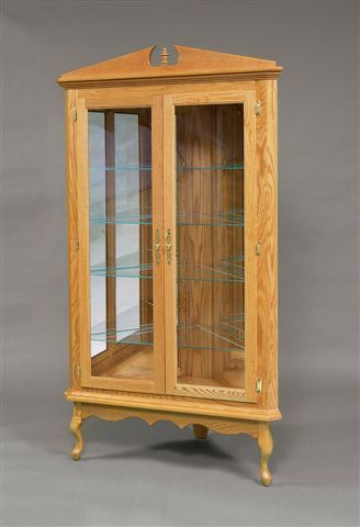 Amish Queen Anne Corner Curio Cabinet