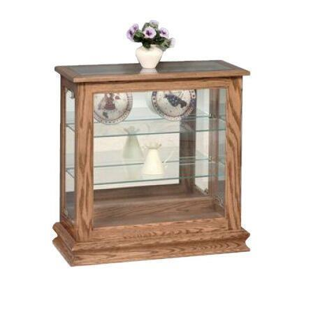 Amish Console Curio Cabinet with Sliding Door