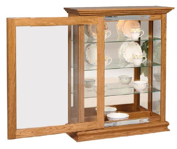 Amish Large Sliding Door Curio Cabinet