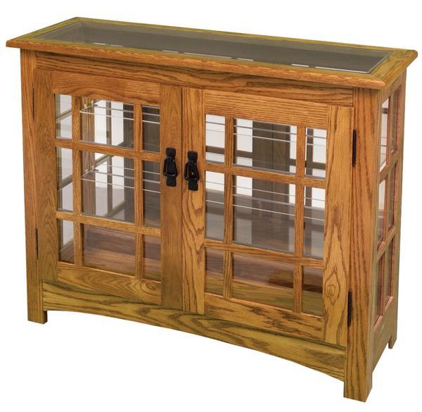 Merveilleux Amish Mission Style Small Console Curio Cabinet