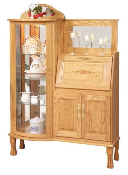 Amish Rectangular Curio Cabinet with Secretary Desk