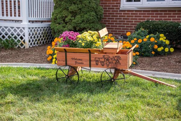 Amish Made Buckboard Wagon Planter
