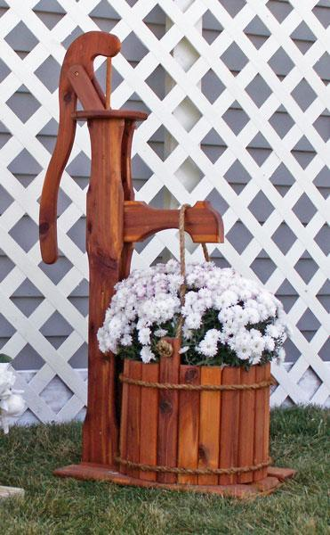 Amish Cedar Pump Planter with Bucket - Large