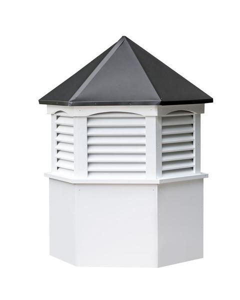 Amish Made Vinyl Hexagon Louvre Cupola with Weathervane