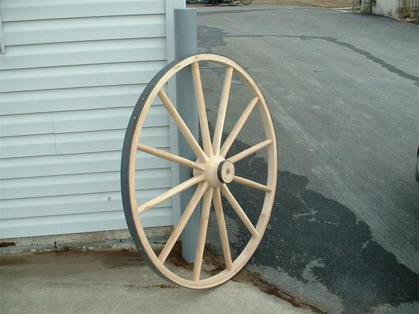 "Amish Wooden Hub Buggy Wheel - 36"" Diameter"