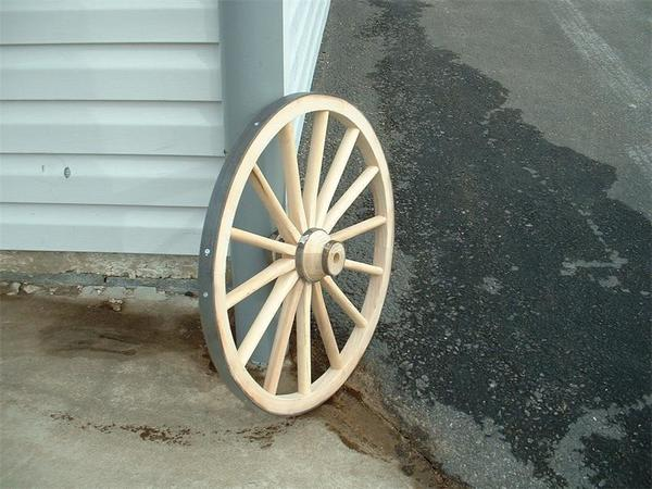 "Amish Wooden Hub Buggy Wheel - 24"" Diameter"