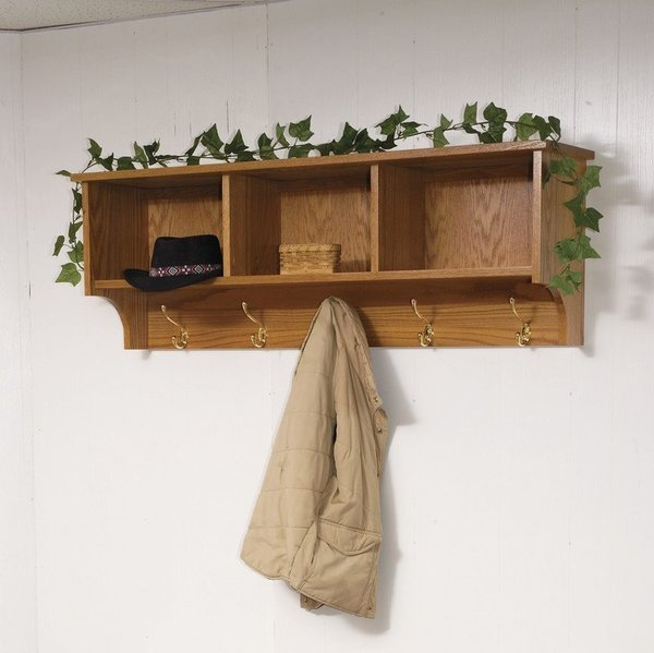 Amish Traditional Hanging Wall Shelf with Storage and Coat Hooks