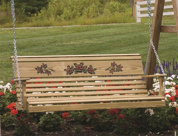 LuxCraft Rollback Wood Porch Swing with Rose Design