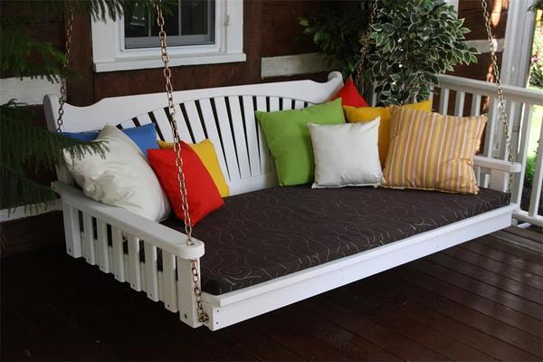 Amish Pine Wood Fanback Swing Bed