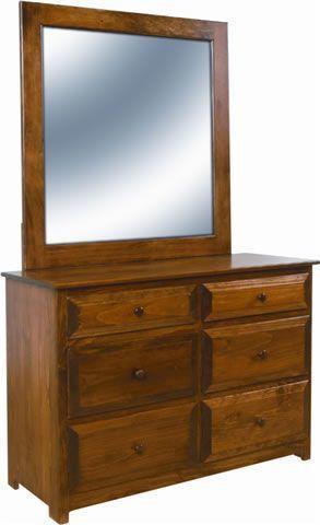 Pine Wood 6 Drawer Dresser From