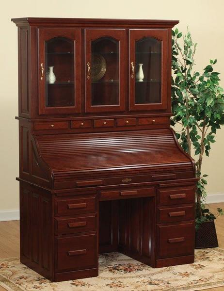 Amish Roll Top Desk With Hutch Top
