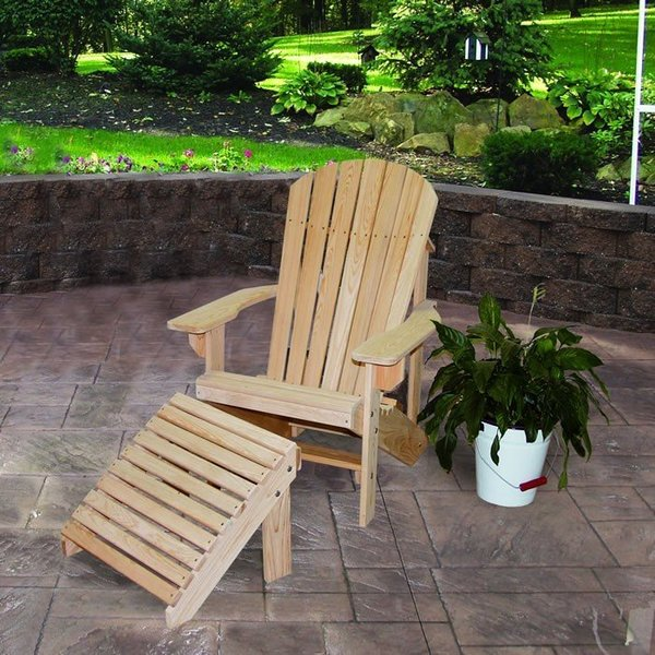 Amish Cypress Outdoor Adirondack Chair with Optional Ottoman