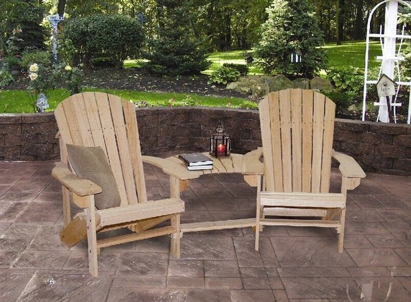 Cypress Double Adirondack Settee With Optional Ottomans From